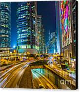 Hong Kong Highway At Night Canvas Print