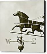 Horse And Buggy Weathervane In Sepia Canvas Print by Ben and Raisa Gertsberg