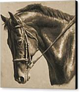 Horse Painting - Focus In Sepia Canvas Print