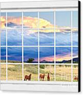 Horses On The Storm Large White Picture Window Frame View Canvas Print