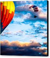 Hot Air Balloon And Powered Parachute Canvas Print by Bob Orsillo