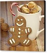 Hot Cocoa And Gingerbread Cookie Canvas Print by Juli Scalzi