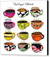 Hot Cuppa Whimsical Colorful Coffee Cup Designs By Romi Canvas Print