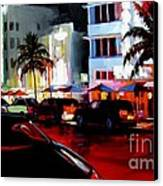 Hot Nights In South Beach - Oil Canvas Print by Michael Swanson
