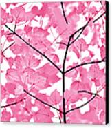 Hot Pink Leaves Melody Canvas Print