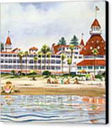 Hotel Del Coronado From Ocean Canvas Print by Mary Helmreich