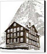 Hotel Des Alpes And Eiger North Face Canvas Print