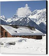 House In The Alps In Winter Canvas Print by Matthias Hauser