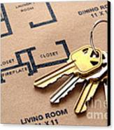 House Keys On Real Estate Housing Floor Plans Canvas Print by Olivier Le Queinec