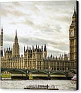 Houses Of Parliament On The Thames Canvas Print by Heather Applegate