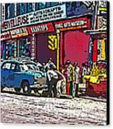 How To Change A Tire Comic Canvas Print by Steve Harrington