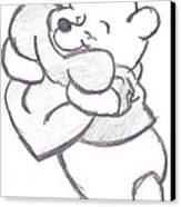 Huggable Pooh Bear Canvas Print by Melissa Vijay Bharwani