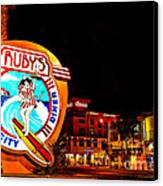 Huntington Beach Downtown Nightside 2 Canvas Print by Jim Carrell