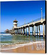 Huntington Beach Pier In Southern California Canvas Print by Paul Velgos