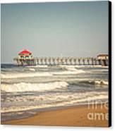 Huntington Beach Pier Retro Toned Photo Canvas Print by Paul Velgos