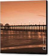 Huntington Beach Pier - Twilight Sepia Canvas Print by Jim Carrell