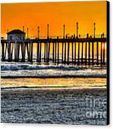 Huntington Beach Sunset Canvas Print by Jim Carrell