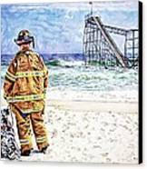Hurricane Sandy Fireman Canvas Print