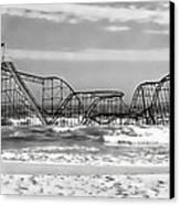 Hurricane Sandy Jetstar Roller Coaster Black And White Canvas Print