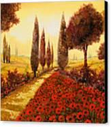 I Papaveri In Estate Canvas Print by Guido Borelli