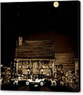 Midnight Reflections Of The Old Time Classic 1908 Model T Ford In Sepia Color Canvas Print