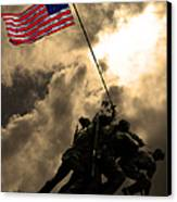 I Pledge Allegiance To The Flag - Iwo Jima 20130211v2 Canvas Print by Wingsdomain Art and Photography