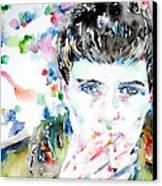 Ian Curtis Smoking Cigarette Watercolor Portrait Canvas Print by Fabrizio Cassetta