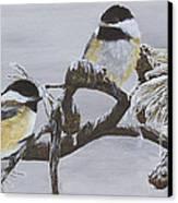 Ice Storm Chickadees Canvas Print by Johanna Lerwick
