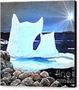 Icebergs At Sunset Canvas Print