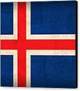 Iceland Flag Vintage Distressed Finish Canvas Print by Design Turnpike