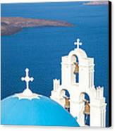 Iconic Blue Cupola Overlooking The Sea Santorini Greece Canvas Print by Matteo Colombo