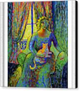 Impressionist Woman And Cat Canvas Print by Eve Riser Roberts