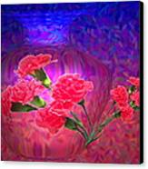 Impressions Of Pink Carnations Canvas Print by Joyce Dickens