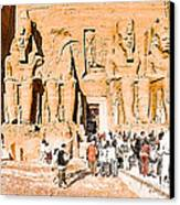 In The Presence Of Ramses II At Abu Simbel Canvas Print by Mark E Tisdale