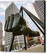 In Your Face -  Joe Louis Fist Statue - Detroit Michigan Canvas Print by Gordon Dean II