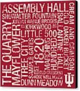 Indiana College Colors Subway Art Canvas Print by Replay Photos