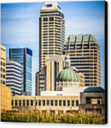 Indianapolis Cityscape Downtown City Buildings Canvas Print by Paul Velgos