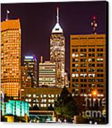 Indianapolis Skyline At Night Picture Canvas Print by Paul Velgos