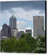 Indianapolis Skyline Storm 3 Canvas Print by David Haskett