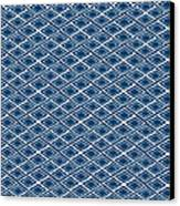 Indigo And White Small Diamonds- Pattern Canvas Print by Linda Woods