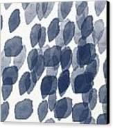 Indigo Rain- Abstract Blue And White Painting Canvas Print