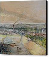 Industrial Landscape In The Blanzy Coal Field Canvas Print by Ignace Francois Bonhomme