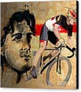 Ink Portrait Illustration Print Of Cycling Athlete Fabian Cancellara Canvas Print by Sassan Filsoof