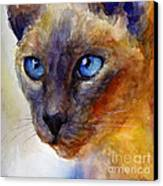 Intense Siamese Cat Painting Print 2 Canvas Print by Svetlana Novikova