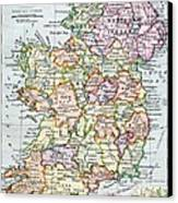 Irish Free State And Northern Ireland From Bacon S Excelsior Atlas Of The World Canvas Print by English School