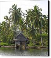 Isla Tigre - Hut Over Water And Palm Trees Canvas Print