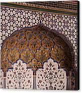 Islamic Geometric Design At The Shahi Mosque Canvas Print by Murtaza Humayun Saeed