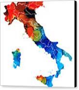 Italy - Italian Map By Sharon Cummings Canvas Print by Sharon Cummings