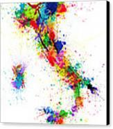 Italy Map Paint Splashes Canvas Print by Michael Tompsett