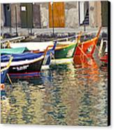 Italy Portofino Colorful Boats Of Portofino Canvas Print